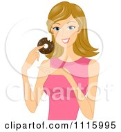 Clipart Happy Blond Woman Eating A Chocolate Donut Royalty Free Vector Illustration
