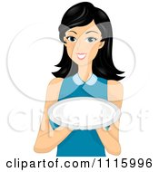 Clipart Beautiful Asian Woman Holding An Empty Plate Royalty Free Vector Illustration
