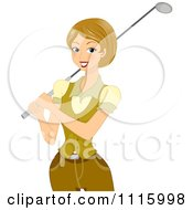 Clipart Happy Female Golfer Holding A Club Over Her Shoulder Royalty Free Vector Illustration by BNP Design Studio