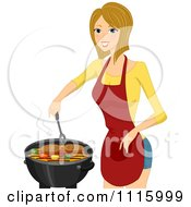 Clipart Happy Blond Woman Cooking Steaks On A BBQ Royalty Free Vector Illustration