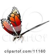 3D Monarch Butterfly Flying Clipart Illustration by AtStockIllustration