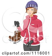 Clipart Happy Winter Woman Carrying Ice Skates Royalty Free Vector Illustration by BNP Design Studio