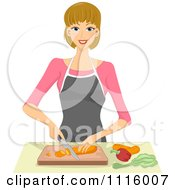Clipart Happy Blond Woman Chopping Vegetables Royalty Free Vector Illustration