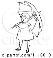 Clipart Retro Vintage Black And White Girl With An Umbrella 1 Royalty Free Vector Illustration by Prawny Vintage