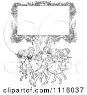Clipart Retro Vintage Black And White Sign In A Tree Over Happy Playing Children Royalty Free Vector Illustration