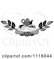Clipart Retro Vintage Black And White Cake And Tea Design Element Royalty Free Vector Illustration