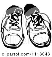 Clipart Retro Vintage Black And White Pair Of Childrens Shoes Royalty Free Vector Illustration by Prawny Vintage
