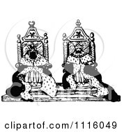 Clipart Retro Vintage Black And White Kings On Their Thrones Royalty Free Vector Illustration by Prawny Vintage