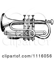 Clipart Retro Vintage Black And White Trumpet Royalty Free Vector Illustration by Prawny Vintage