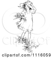 Clipart Retro Vintage Black And White Girl Picking Flowers In The Wind Royalty Free Vector Illustration