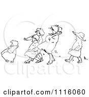 Clipart Retro Vintage Black And White Children Walking Against The Wind Royalty Free Vector Illustration