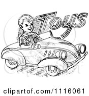 Clipart Retro Vintage Black And White Boy Driving A Toy Car Royalty Free Vector Illustration by Prawny Vintage