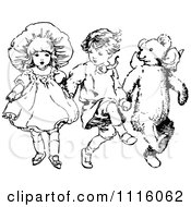 Clipart Retro Vintage Black And White Children Skipping With A Teddy Bear Royalty Free Vector Illustration