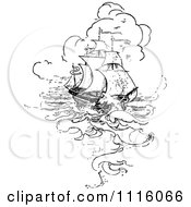 Clipart Retro Vintage Black And White Nautical Ship In Rough Seas Royalty Free Vector Illustration by Prawny Vintage