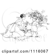 Clipart Retro Vintage Black And White Mother And Son Picking Flowers Royalty Free Vector Illustration