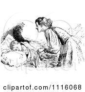 Clipart Retro Vintage Black And White Mother Tucking In Her Child Royalty Free Vector Illustration