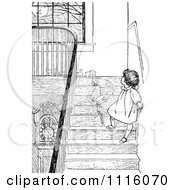 Clipart Retro Vintage Black And White Girl With Toys On Stairs Royalty Free Vector Illustration