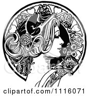 Retro Vintage Black And White Beautiful Woman In Profile And Floral Circle