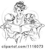 Clipart Retro Vintage Black And White Mother Reading To Her Children Royalty Free Vector Illustration
