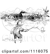 Clipart Retro Vintage Black And White Boy Reaching Out For A Toy Boat In A Flooded River Royalty Free Vector Illustration