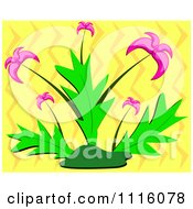 Clipart Plant With Pink Flowers Over Yellow Zig Zags Royalty Free Vector Illustration by bpearth