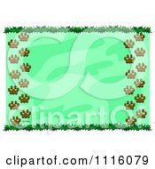 Clipart Border Of Leaves And Paw Prints Around Green Copyspace Royalty Free Vector Illustration by bpearth
