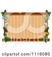Border Of Wood Leaves And Flowers Around Brown Copyspace