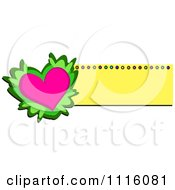 Pink Heart With Leaves And A Yellow Banner