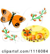 Orange Butterfly And Caterpillar With Flowers