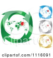 Clipart Green Blue Silver And Gold Recycle Arrow And World Map Circles Royalty Free Vector Illustration by Andrei Marincas