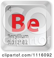 Clipart 3d Red And Silver Beryllium Keyboard Button Royalty Free Vector Illustration