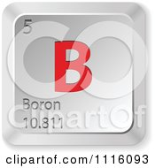 Clipart 3d Red And Silver Boron Keyboard Button Royalty Free Vector Illustration by Andrei Marincas