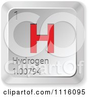 Clipart 3d Red And Silver Hydrogen Keyboard Button Royalty Free Vector Illustration