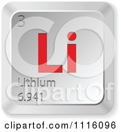 Clipart 3d Red And Silver Lithium Keyboard Button Royalty Free Vector Illustration by Andrei Marincas