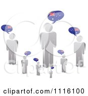 Clipart 3d Silver People With Australian Chat Balloons Royalty Free Vector Illustration