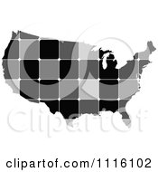 Clipart Grayscale Tiled American Map Royalty Free Vector Illustration