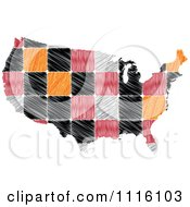 Clipart Sketched Tiled American Map Royalty Free Vector Illustration