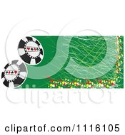 Clipart Green Grungy Poker Chip Banner Royalty Free Vector Illustration