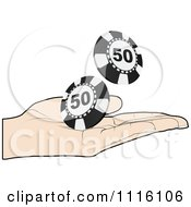 Clipart Poker Player Tossing 50 Chips Royalty Free Vector Illustration by Andrei Marincas