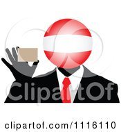 Clipart Austrian Globe Headed Businessman Holding A Card Royalty Free Vector Illustration by Andrei Marincas