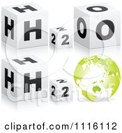 Clipart 3d H2O Water Cubes And A Globe Royalty Free Vector Illustration by Andrei Marincas