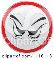 Clipart Red And White Angry Face Sign Or Icon Royalty Free Vector Illustration by Andrei Marincas