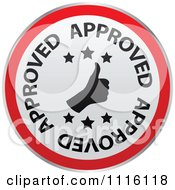 Clipart Red And White Thumbs Up Approved Icon Royalty Free Vector Illustration by Andrei Marincas