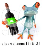 Clipart 3d Turquoise Springer Frog Holding A Wine Bottle 3 Royalty Free CGI Illustration