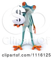 Clipart 3d Turquoise Springer Frog Holding A Chrome Dollar Symbol 1 Royalty Free CGI Illustration