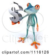 Clipart 3d Turquoise Springer Frog Holding A Chrome Dollar Symbol 2 Royalty Free CGI Illustration