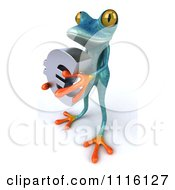 Clipart 3d Turquoise Springer Frog Holding A Chrome Euro Symbol 1 Royalty Free CGI Illustration
