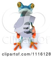 Clipart 3d Turquoise Springer Frog Holding A Chrome Euro Symbol 2 Royalty Free CGI Illustration