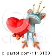 Clipart 3d Turquoise Springer Frog Prince Holding A Heart 1 Royalty Free CGI Illustration