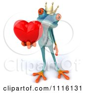 Clipart 3d Turquoise Springer Frog Prince Holding A Heart 2 Royalty Free CGI Illustration